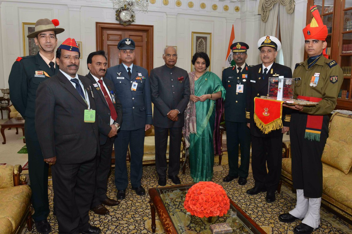 Secretary (ESW) & Officers of Kendriya Sainik Board with Hon'ble President of India ,  Shri Ram Nath Kovind on the occasion of the Armed Forces Flag Day, in New Delhi on December 07, 2017.