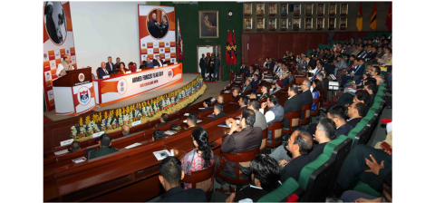 Hon'ble R M addressing the Industry leaders during AFFD-CSR Conclave at Manekshaw Centre, New Delhi on 2.12.2019.