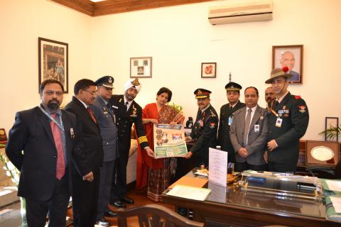 Secy, ESW unveiling the commemorative material on the occasion of the AFFD, in New Delhi on December 07, 2018.