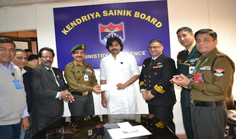Sh Pawan Kalyan, renowned Actor  presenting  a cheque of Rs 1 Cr towards  AFFD Fund on 20.2.2020 at KSB Sectt, New Delhi.