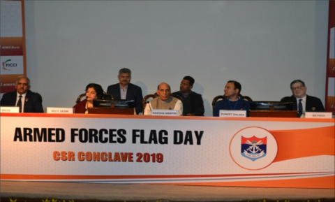 Hon'ble RM presiding over AFFD - CSR Conclave at Manekshaw Centre, Delhi Cantt on 2.12.2019.