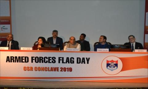 Hon'ble RM presiding over AFFD - CSR Conclave at Manekshaw Centre, Delhi Cantt on 2.12.2019.