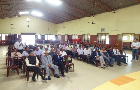 Secy ESW and other officials  during the Interaction with local Ex Servicemen at Virajpert, Coorg on 23.1.2020.